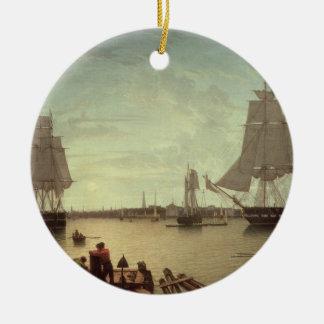 Boston Harbour from Constitution Wharf Ceramic Ornament