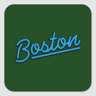 Boston in cyan square stickers