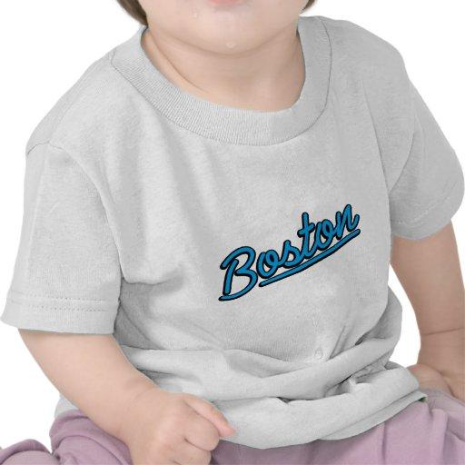 Boston in cyan tee shirts