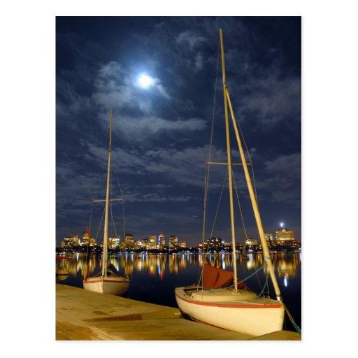 Boston in the Full Moon Post Card