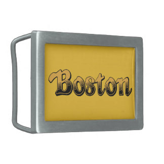 Boston in yellow and black stripes rectangular belt buckles