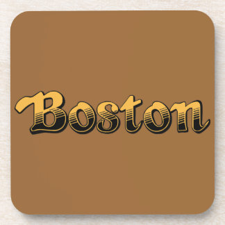 Boston in yellow and black stripes beverage coaster