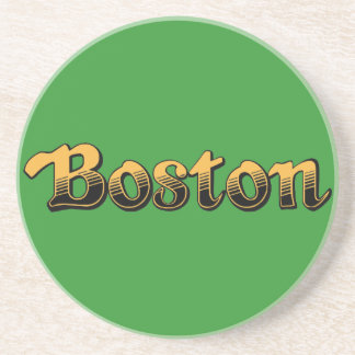 Boston in yellow and black stripes drink coaster