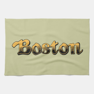 Boston in yellow and black stripes kitchen towels