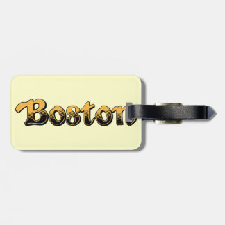 Boston in yellow and black stripes tags for luggage
