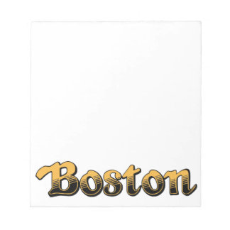 Boston in yellow and black stripes memo notepad