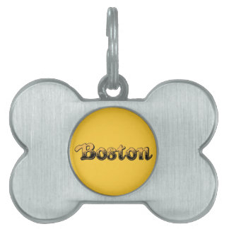 Boston in yellow and black stripes pet ID tags
