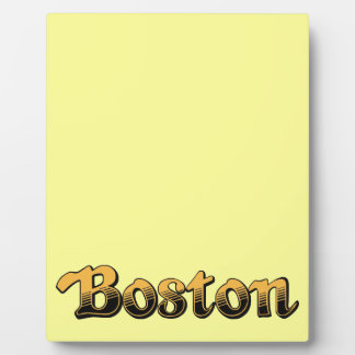 Boston in yellow and black stripes photo plaques