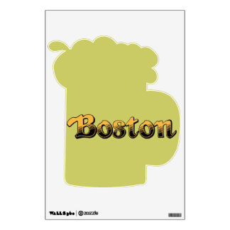 Boston in yellow and black stripes wall sticker