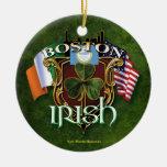 Boston Irish Double-Sided Ceramic Round Christmas Ornament