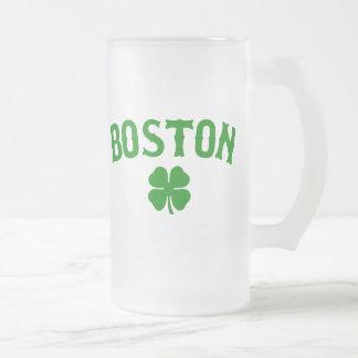 Boston Irish Frosted Glass Beer Mug