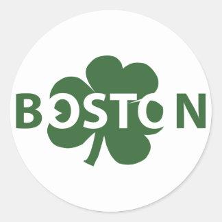 Boston Irish Shamrock Label Classic Round Sticker