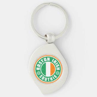 Boston Irish Southie Silver-Colored Swirl Metal Keychain