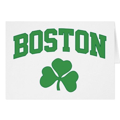 boston irish st patrick's shamrock clover southie card
