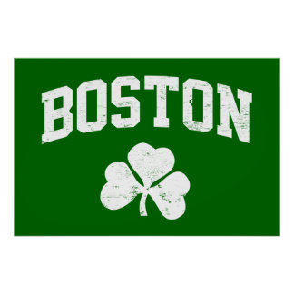 boston irish st patrick's shamrock clover southie poster