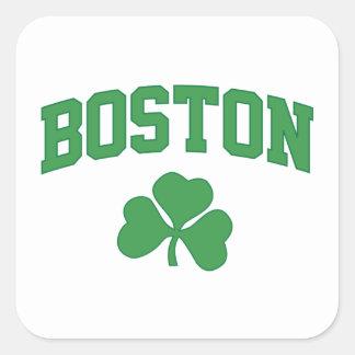 boston irish st patrick's shamrock clover southie square sticker
