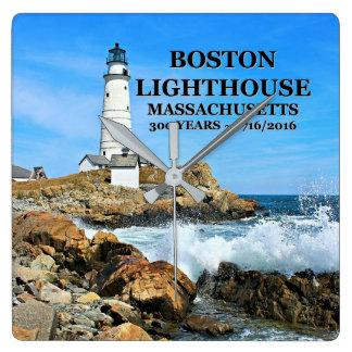 Boston Lighthouse, Massachusetts Square Wall Clock
