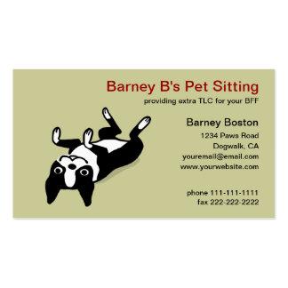 Boston linda Terrier - cuidado de animales de comp Tarjetas De Visita