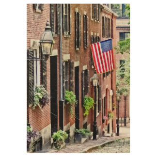 Boston MA - Acorn Street Wood Poster