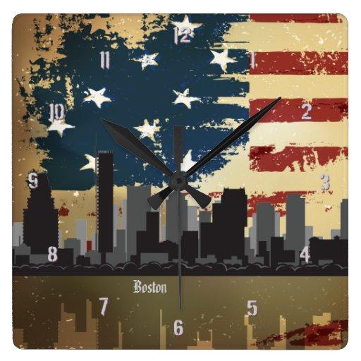 Boston, MA American Cities CityScape Wall Clock