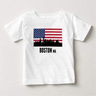 Boston MA American Flag Baby T-Shirt