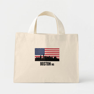 Boston MA American Flag Mini Tote Bag