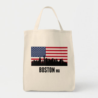 Boston MA American Flag Tote Bag
