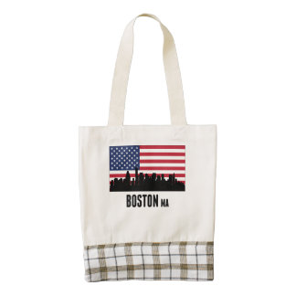 Boston MA American Flag Zazzle HEART Tote Bag
