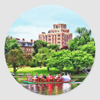 Boston mA - Barco del cisne Pegatina Redonda