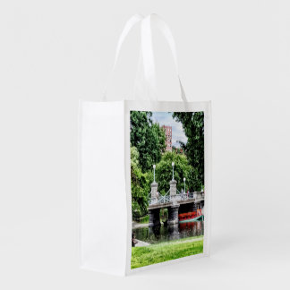 Boston MA - Boston Public Garden Bridge Grocery Bag