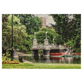 Boston MA - Boston Public Garden Bridge Wood Poster
