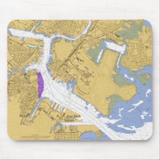 Boston MA Nautical Harbor Chart Mousepad