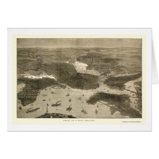 Boston, MA Panoramic Map - 1870s Greeting Card