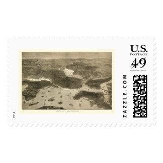 Boston, MA Panoramic Map - 1870s Postage