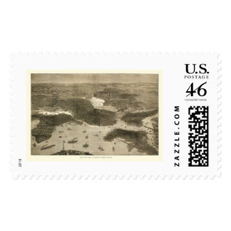 Boston MA Panoramic Map - 1870s Postage Stamp