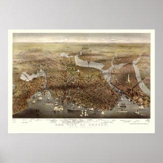 Boston, MA Panoramic Map - 1873 Poster