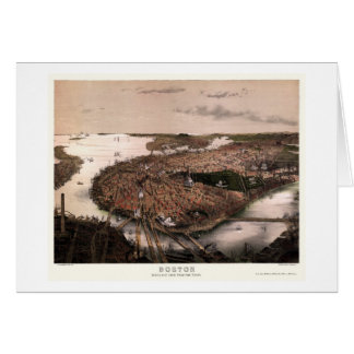 Boston, MA Panoramic Map - 1877 Greeting Card