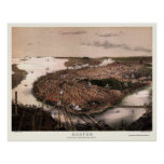 Boston, MA Panoramic Map - 1877 Poster