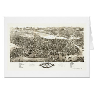 Boston, MA Panoramic Map - 1880 Greeting Cards