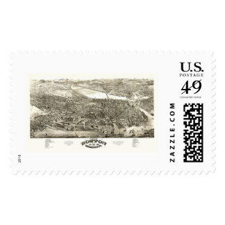 Boston, MA Panoramic Map - 1880 Postage Stamp