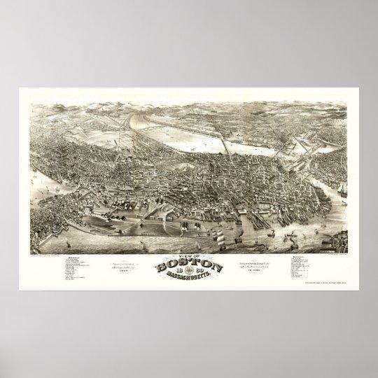 Boston, MA Panoramic Map - 1880 Poster