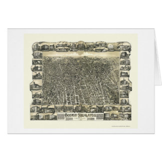 Boston, MA Panoramic Map - 1888 Greeting Card
