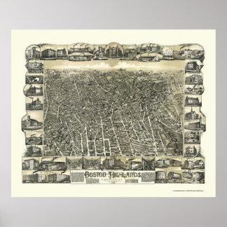 Boston, MA Panoramic Map - 1888 Poster