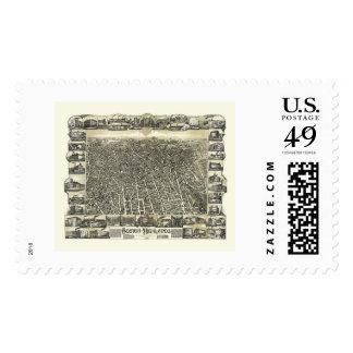 Boston, MA Panoramic Map - 1888 Stamp