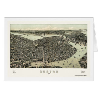 Boston, MA Panoramic Map - 1899 Greeting Card