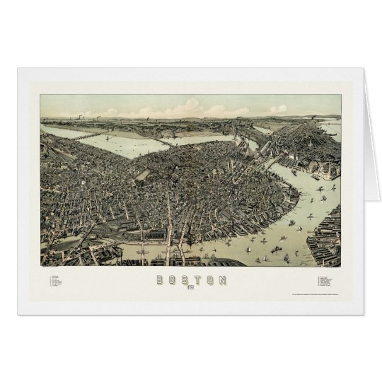 Boston, MA Panoramic Map - 1899 Card