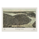 Boston, MA Panoramic Map - 1899 Poster