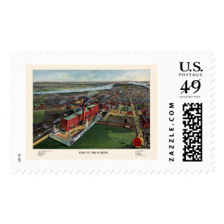 Boston, MA Panoramic Map - 1902 Postage Stamps