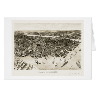 Boston, MA Panoramic Map - 1905 Greeting Card