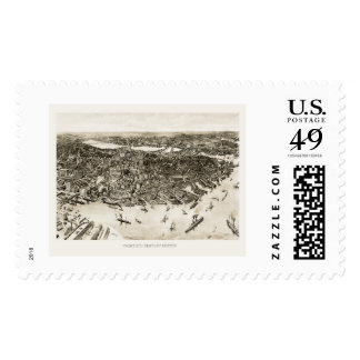 Boston, MA Panoramic Map - 1905 Postage Stamps